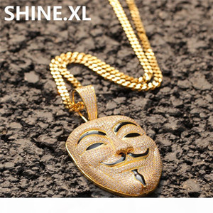 V for Vendetta Mask Pendant Necklace with Rope Chain Iced Out Zircon Mens Hip Hop Jewelry Gift