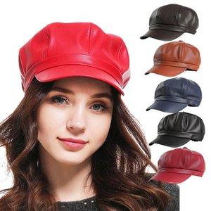 Hot 2020 Solid Color PU Leather Octagonal Cap Ladies British Retro Casual Cap Fashion Painter Outdoor