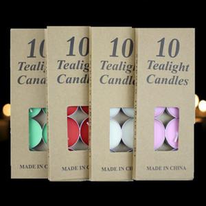 10 unids Tealight Velas Sin humo Kraft Packaging Wax for Valentines Day Cumpleaños Boda Fiesta de Navidad Decoración Regalos creativos