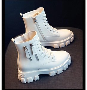 2020 NEW Leather Ankle Boots For Women Dr Motorcycle Boots Women Platform Martin Thick Heel Winter Shoes Booties #tV2h