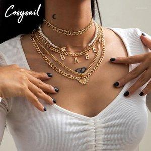 COSYSAIL 5PCS / Set Babe Lettre Angel Pendentif MultiLouche Collier MultiLayer Papier Collier Pearl Couker Collier Ensemble Hip Hop Creative Bijoux1