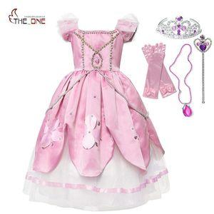 MUABABY Yaz Kızlar Deluxe Prenses Parti Elbise Puff Kol Cosplay Kostüm Çocuk Katmanlı Sophia Balo Giysileri