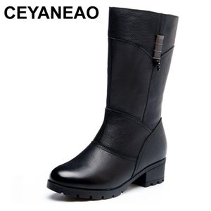 CEYANEAO Winter Fur Women Warm Boots Genuine Leather Snow Boots Woman Rubber Mid-Calf Soles Fashion High Heels Shoes Woman