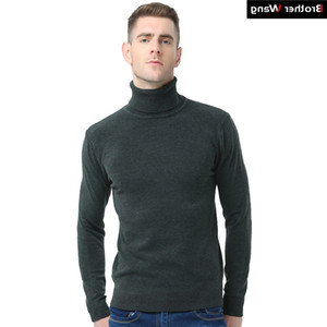 Brother Wang 2020 New Autumn Winter Brand Men's Turtleneck Slim Pullover Solid Color Knitted Sweater Men