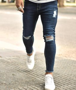 Autumn Streetwear Casual Denim Pants For Men Distressed Ripped Frayed Hole Slim Fit Skinny Jeans Trousers Sweatpants Hombre 2020