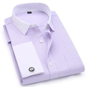 Men French Cufflinks Shirts White Collar Design Solid Color Jacquard Fabric Male Gentleman Dress Long Sleeves Shirt Q1231