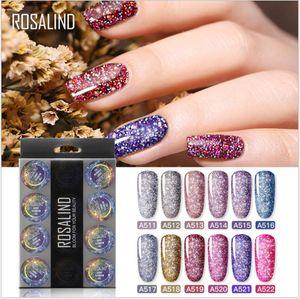 ROSALIND 5ml 12Color Shiny Diamond Glitter Gel Nail Polish Hybrid Varnishes For Manicure Nail Art Design Gel Polish Top and Base Set