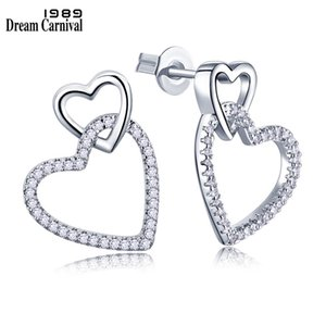 Stud Earrings Dreamcarnival1989 Women Stud Earings Cute Hollow Linked Hearts Rhodium-Color Clear White Blinking CZ Paved Boucles ...