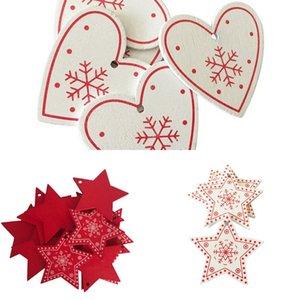 10pcs 5cm New Year 2021 Natural Wood Christmas Tree Ornaments Pendants Hanging Gifts Xmas DIY Noel Home Decoration Navidad Decor