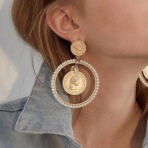 Große runde geschnitzte Porträt Tropfen-Ohrring-nachgemachte Perlen-Münzen-Anhänger baumeln Band-Ohrringe Vintage-Accessoires für Frauen Weihnachten Schmuck