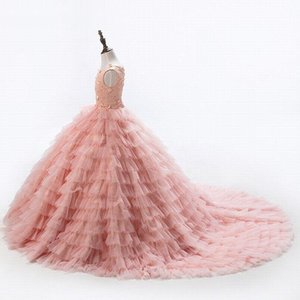 Blush Pink Crew Neck Tulle A Line Flower Girl Dresses 3D Floral Beaded Tiered Ruffles Floor Length Girls Pageant Dresses