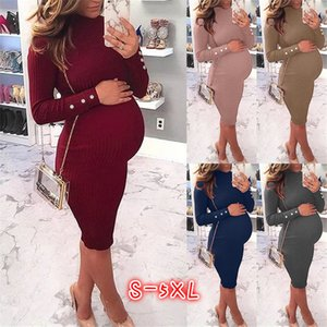 Pregnant Women Knitted Dresses Turtleneck Long Sleeve Slim Womens Dress Casual Plus Size Solid Color Femme Clothes