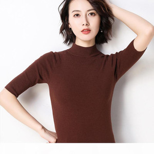 GejasAinyu2019new spring women sweaters Short sleeve turtleneck cashmere sweater women knitted pullover sweter summer tops