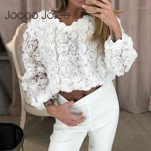 Jocoo Jolee Mujeres elegante Blusa Floral Blanco Casual V Cielo Tops Tops de Malla de Verano Malla larga Blusa Camisa Vintage Blusas Mujer1