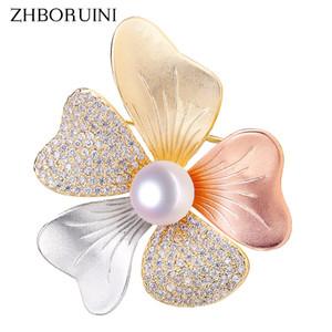 Gioielli della tecnologia ZHBORUINI Belle Italiana Naturale perla Spilla Tricolore Spilla perla per le donne Dropshipping 201009