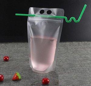 17oz 500ml Bolsas de bebida clara Bolsas con cremallera helada Soporte de plástico Bolsa de consumo de plástico con paja con sostenecos Reclos JLLPPE XHAIR