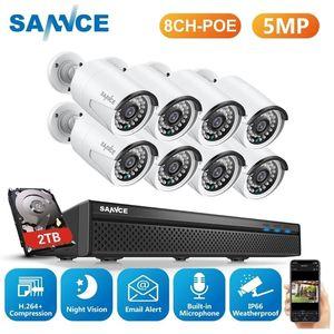 Sannce 8CH 5MP Wired NVR PoE Security System 5MP IP66 Ao Ar Livre IR-Cut CCTV CANERA CANERA VÍDEO VIDEO Gravador de vídeo LJ201205
