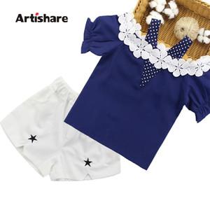 Artishare vêtements d'été pour filles chemise en dentelle + shorts 2pcs filles ensembles vêtements vêtements adolescents vêtements 6 8 10 12 14 ans y200829