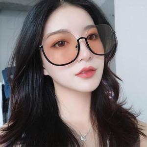 Güneş Gözlüğü Boy Trendy Güneş Gözlükleri Yarım Çerçeve Kadın Erkek Turuncu Pembe Siyah Lens Gözlük Oval Sunglases UV4001
