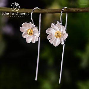 Lotus Fun Moment Yasemin Çiçek Dangle Küpe Gerçek 925 Ayar Gümüş Yaratıcı Tasarımcı Güzel Takı Küpe Kadınlar Için Hediye1