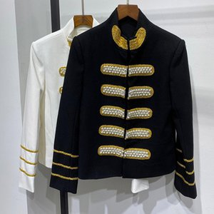 Chic Women's Vintage Jackets 2020 Spring women brand new high quality pearls beading embroidery stand collar jackets coat B729