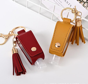 New 30ml Hand Sanitizer Bottle Cover Pu Leather Tassel Holder Keychain Protable Keyring Cover Storage Bags Home Storage Organizati bbyFPV