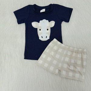 Baby Boy Abbigliamento ricamo Latte di seta Cow Heifer Tshirt Shorts Girls Boutique Outfits Baby Bambini Bambini Abiti estivi WMBF #