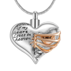 A piece of my heart lives in heaven Two Tone Locket Heart cremation memorial ashes urn necklace jewelry keepsake pendant
