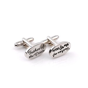 Father's Gift Tuxedo Stylish Cufflinks Silver Plated Oval Handstamped Father Of The Groom Bride French Shirt Cuff Linksps1893