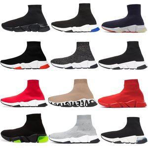 Hot Selling Paris Speed Trainers casual sock shoes black green university red triple white beige stretch knit platform men women Sneakers