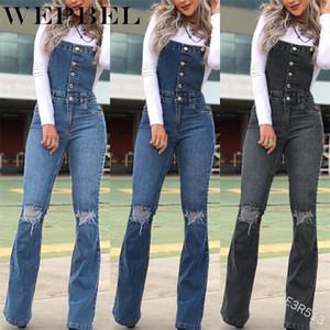Femmes Denim Jumpsuit Salopette Bodysuit Trou simple boutonnage Ripped Mesdames Jumpsuit bavoir Pantalon rétro poche Romper Jeans