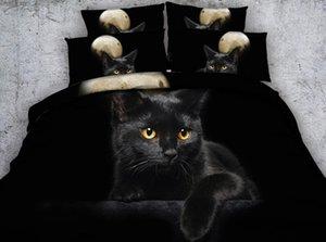 JF-302 Black bed set 4pcs black cat under moon print doona cover queen size bed linen