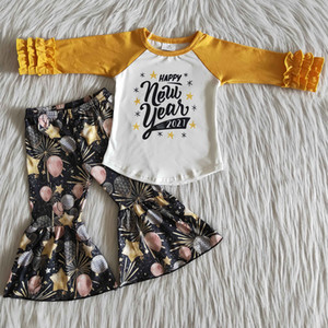 hot sale kids designer clothes girls Happy New Year wholesale children clothing 2pcs boutique Bell bottom girls clothes set toddler outfits