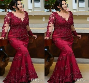 Vintage Burgundy Long Sleeves Prom Mother of the Bride Dresses 2021 Plus size Lace Beaded Sequin Evening Red Carpet Formal Gowns Dress Cheap