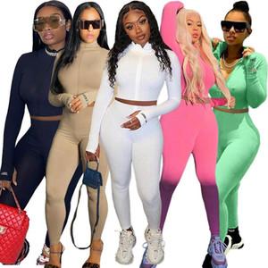 Şanslı Etiket 2 İki Adet Set Kadın Kıyafetler Aktif Spor Spor Elastik Crop Top Tozluklar Kadınlar Eşleştirme Seti Toptan Dropshpping