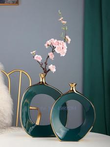 Вазы творчество керамика Золотой вырез ваза ремесленные изделия цветочная композиция Гидропоника Современное домашнее украшение на рабочем столе
