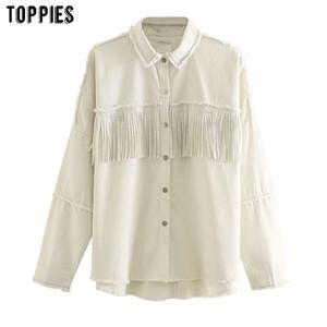 Toppies moda püskül ceket beyaz jean ceket ceket kadın 201015 soutwear kot ceket perçinlemek göğüslü