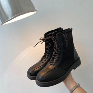 HersevLL Classic Women Thick Bottom Black Mesh Summer Boots Round Toe Zipper Lace Up Platform Shoes Woman High Heels Ankle Botas
