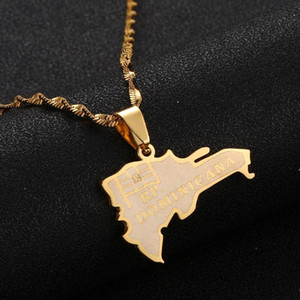 Stainless Steel The Dominican Republic Map Pendant Necklace for Women Fashion Map of Dominican Chain Jewelry