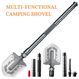 Outdoor Tactical Camping Shovel 58 HRC Multitool Folding Shovel Lifter Mounted Shovel Fishing Outdoor Emergency Camping Tool T200115
