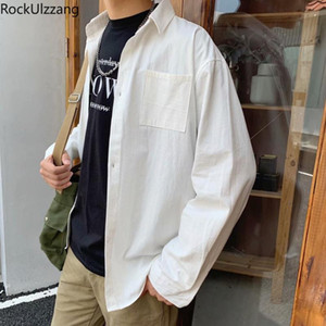 Long Sleeve Funny Letter Print Blouse Streetwear Men Pocket Shirt Plus Oversized Japanese Fashion Hip Hop Casual Spring Outwear