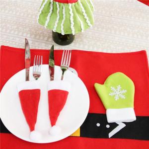 Christmas DecorChristmas Decorative tableware Caps Cutlery Holder Knife Fork Set Spoon Pocket Christmas Decor Bag 6x13cm