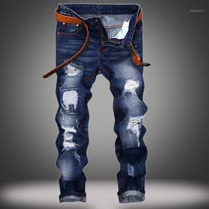 Evjsuse Original marca jeans homens buraco straight slim jeans personalidade efeito de bigode homens designer destruído rasgado1
