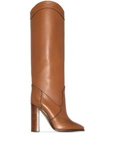MKKHOU fashion knee-high Boots 2020 Winter new cowhide walk boots 10cm high heels women's sizes 34-44