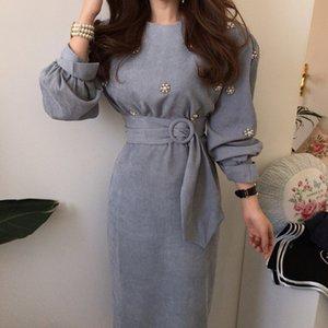 Hzirip Nuevo 2020 Primavera Moda elegante Vestido de mujer O-cuello Abalorios Funda para hojalduras Cinturones Altos Cinturones Sólido Vestido largo Vestidos Femeninos T200623