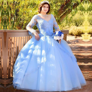 Light Sky Blue Lace Ball Gown Quinceanera Dresses V Neck Beaded Long Sleeves Sweet 16 Prom Dress Sequined Masquerade Party Gowns