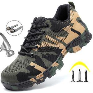 Tête en acier Sécurité au travail Chaussures Casual respirante Sports de plein air Chaussures hommes Crevaison Bottes de protection camouflage confortable
