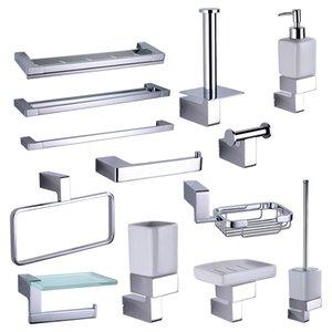 Krom Banyo Raf Donanım Aksesuarları Setleri Pirinç Duş Sabun Dağıtıcı Çanak Havlu Rails Robe Hooks Tuvalet Fırçası Rulo Tutucu