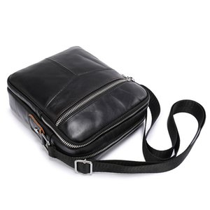 JIAMEN New Genuine Cowhide Leather Shoulder Bag Small Messenger Bags Men Travel Crossbody Bag Handbags New Fashion Men Bag 201006