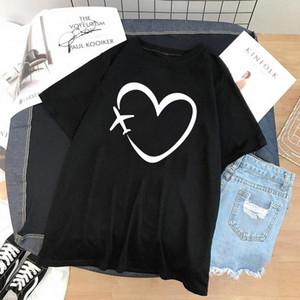 Zogankin Casual T-shirt drôle T-shirt Voyage Heart Love Love Print Femme Noir Tshirt Coton Cadeau Dame Yong Girls Tops Tee 3 Colos # VA6x